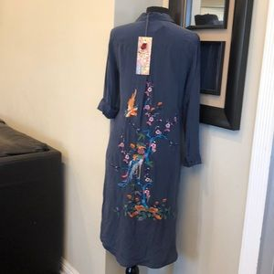 JOHNNY WAS Cherry Floral Emb.long Tunic Silk